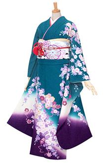 R080 【訳あり】青緑ラメ 枝垂桜☆(絹) (S)