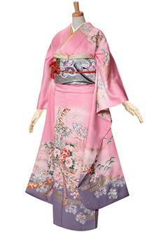 R096 【訳あり】ピンク 牡丹四季の花々☆(S)(絹)