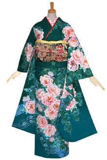R1013 【訳あり】グリーン 枝垂桜に牡丹☆(絹)(宅)
