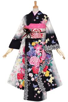 R1044 黒 薔薇と花々☆(絹)(宅)