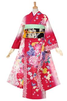 R1045 赤 薔薇と花々☆(絹)(宅)