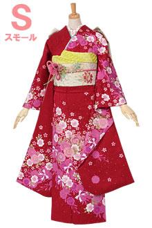 R1071 赤 八重桜に手毬☆(SS)(絹)