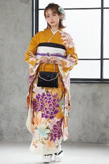 R1076 金茶 百合と牡丹☆(絹)