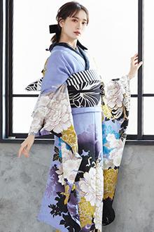 R1079 藤紫 牡丹に八重桜(絹)