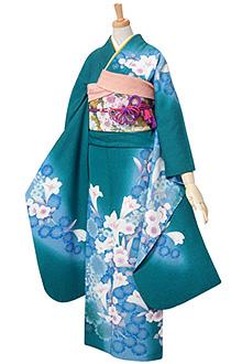 R108 緑 青桜と白百合☆(絹)(s)