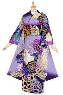 R1080 藤紫 薔薇と桜☆(絹)