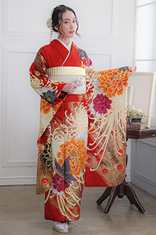 R1083 赤 牡丹に乱菊(絹)