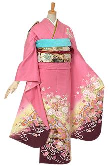 R110 【訳あり】ピンク 流水花手鞠☆(絹)
