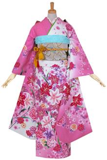 R1121 白ピンク 百合と蘭☆(絹)