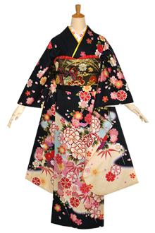 R1154 【訳あり】黒 枝垂桜に菊牡丹☆(絹)(宅)