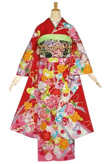 R1165 赤 ハートローズ☆(絹)(宅)