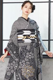 R1196 黒 絞り 熨斗に牡丹☆(絹)