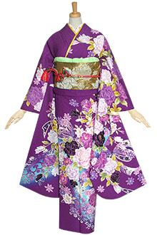 R1235 紫 薔薇とリボン☆(R1236)(絹)(宅)