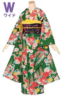 R1261 緑 菊と藤の花(W)