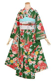 R1262 緑 菊と藤の花(S)