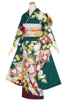 R1275 緑 熨斗に枝垂桜☆(F)(絹)
