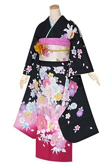 R1317 黒 牡丹に桜吹雪☆(S)(絹)