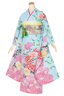 R1322 水色 可愛い薔薇に包まれて☆(絹)(宅)