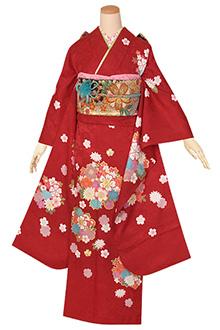 R1333 赤 桜花紋☆(S)(絹)