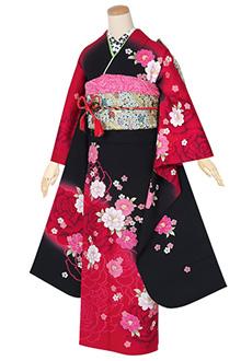 R1345 黒赤 薔薇に桜☆(S)(絹)