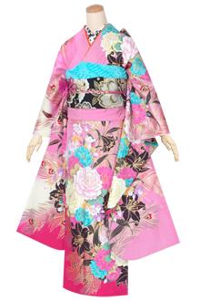 R1368 ピンク 孔雀羽に薔薇百合(絹)(宅)