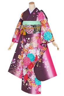 R1371 紫小豆色 薔薇と葡萄☆(絹)(宅)
