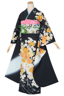 R1390 黒 桜と蝶☆(絹)(宅)