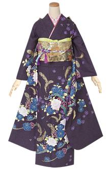 R1392 紫 薔薇と羽根☆(絹)(宅)
