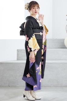 R1407 黒 薔薇と蘭☆(絹)(宅)