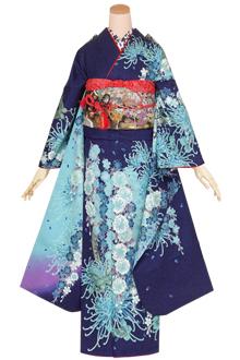 R1410 紺 乱菊に桜☆(絹)(宅)