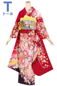 R1454 赤 桜吹雪 手毬牡丹(絹)