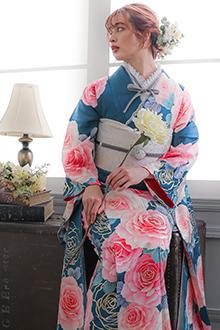 R1489 藍 大輪薔薇(絹)