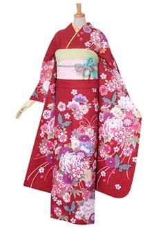 R1501 【訳あり】赤 雪輪に薬玉文と蝶☆(R340)
