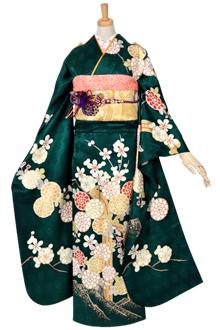 R1503 【訳あり】深緑 菊梅に滝文様☆(絹)(R986)