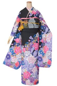 R1511 黒×紫 薔薇