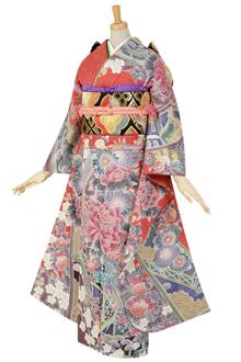 R153 【訳あり】きぬたや総絞り京友禅 牡丹☆(絹)