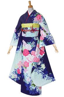 R1545 紺紫白 薔薇☆(F)(絹)