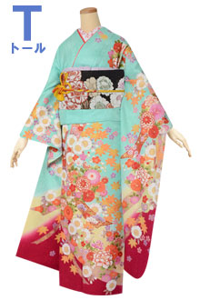 R1550 青緑 短冊に季節の花☆(F)(絹)