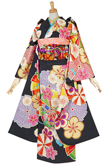 R1560 黒 花に鈴・風車(絹)