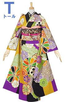 R1561 黒×紫×金茶×黄緑 菊梅(絹)