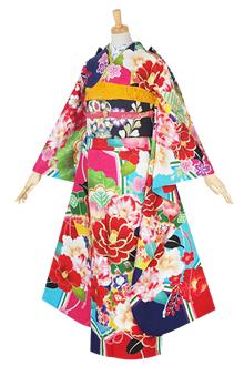 R1562 水色・ピンク・赤・紫 亀甲に椿松桧扇(絹)