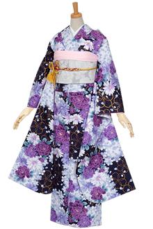 R1573 【訳あり】紺 輪桜に牡丹(R646)