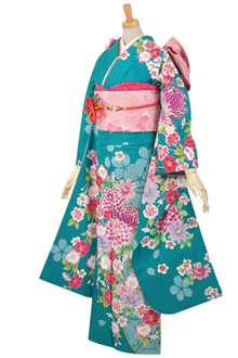 R1587 【訳あり】青 絞り柄に菊と小花☆(R406)