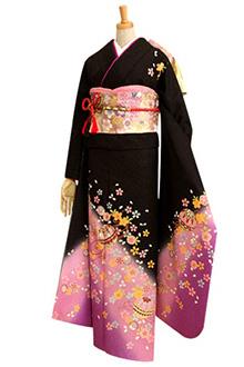 R159 黒 桜と手鞠☆(絹)(S)