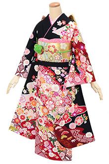 R1590 黒 雲取に花と毬☆(S)(絹)