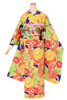 R1597 オレンジ×黄緑×紫 椿橘梅菊