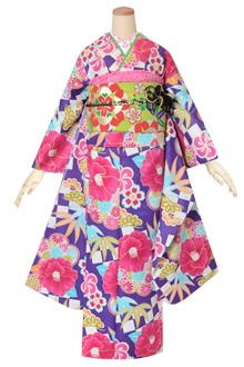 R1599 紫 市松に椿笹菊