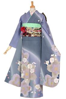 R1600 【訳あり】グレー 紫ぼかし桜(絹)(宅)(R1022)