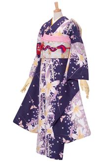 R1603 【訳あり】紫 百合カサブランカと蝶々(R187)