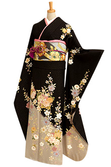 R162 黒ラメ 菊と鞠グレーぼかし☆(絹)